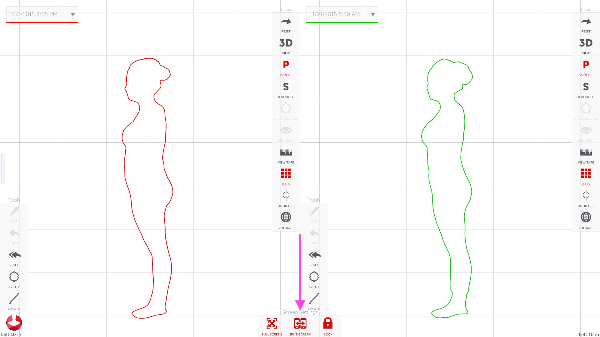 Profile outline click split screen