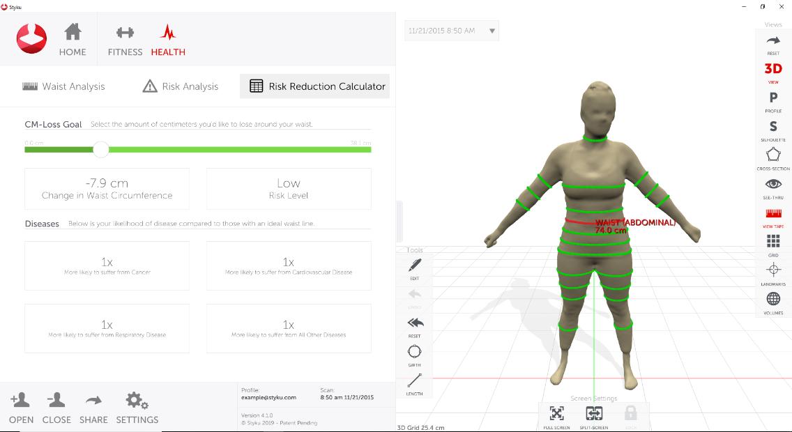 How do I use the Styku Health Tab to track progress and risk