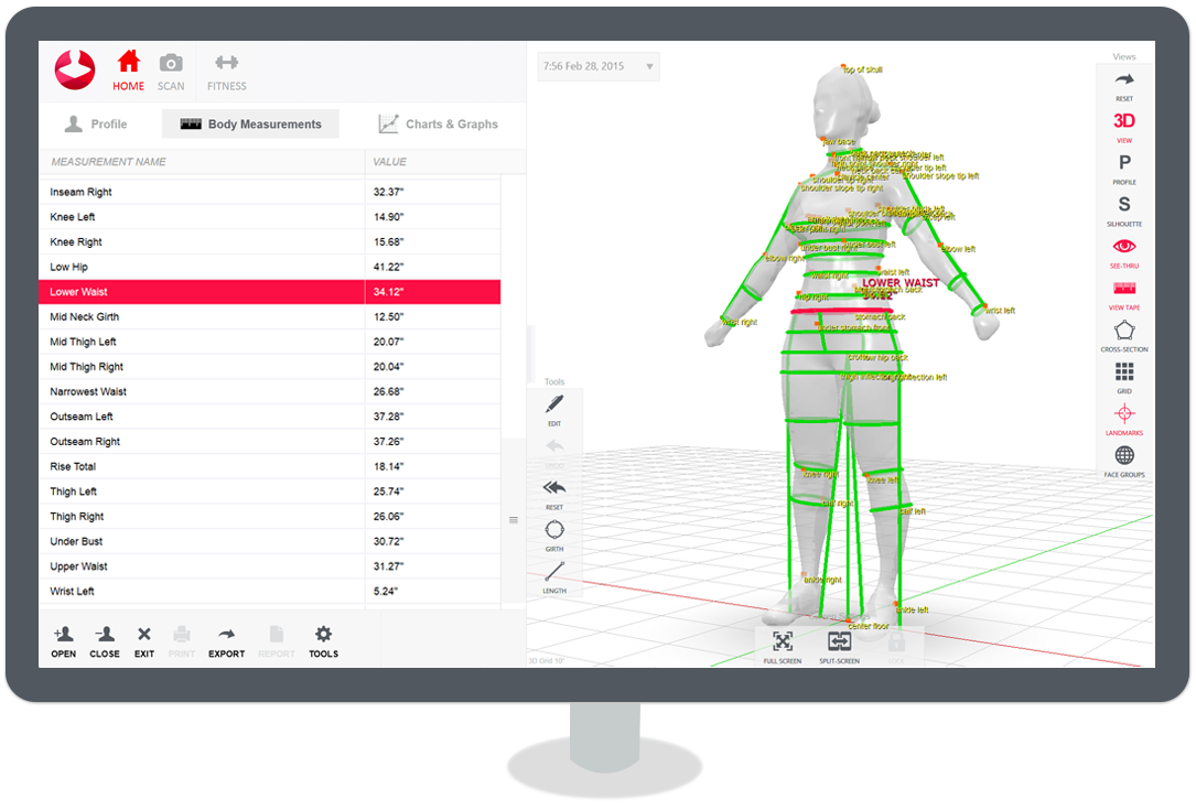 Innovative 3D body scanner and measurement software