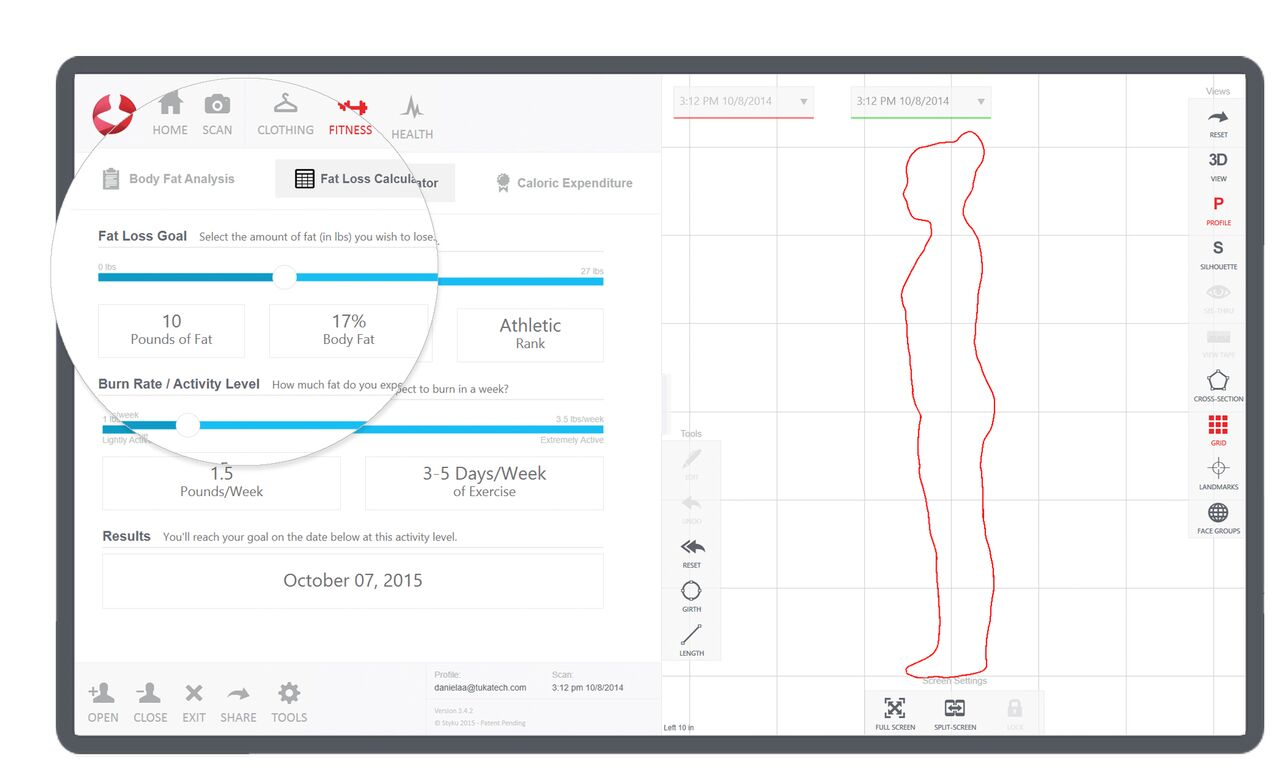 Styku's built-in fitness assessment tools enable you to