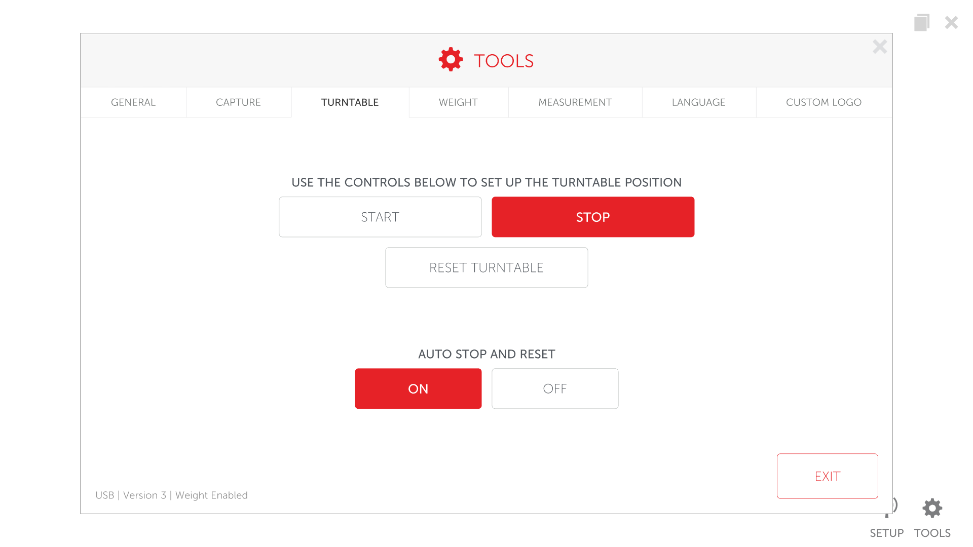 Turntable menu screen